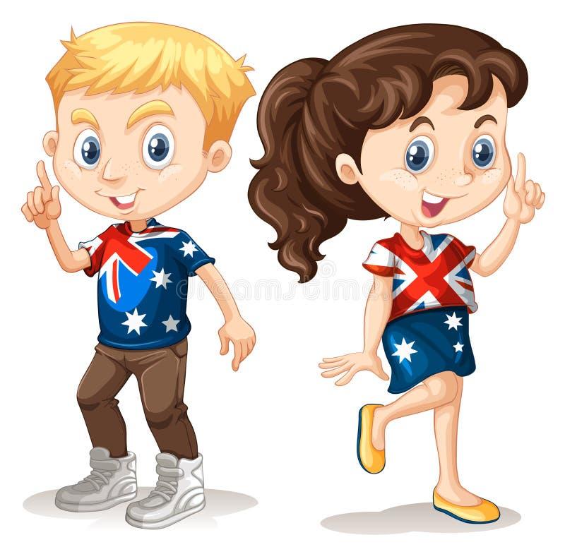 Muchacho y muchacha en camisetas americanas ilustración del vector