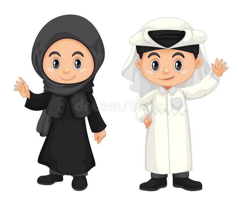 Muchacho y muchacha en el traje de Qatar libre illustration