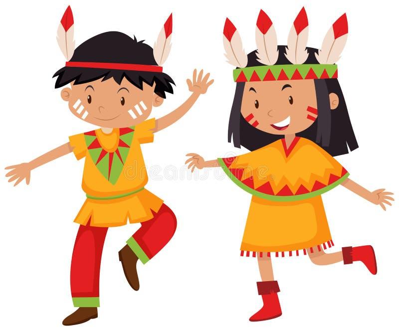 Muchacho y muchacha en indios del nativo americano libre illustration