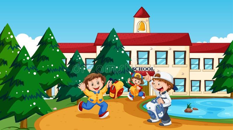 Muchacho y muchacha en la escuela ilustración del vector