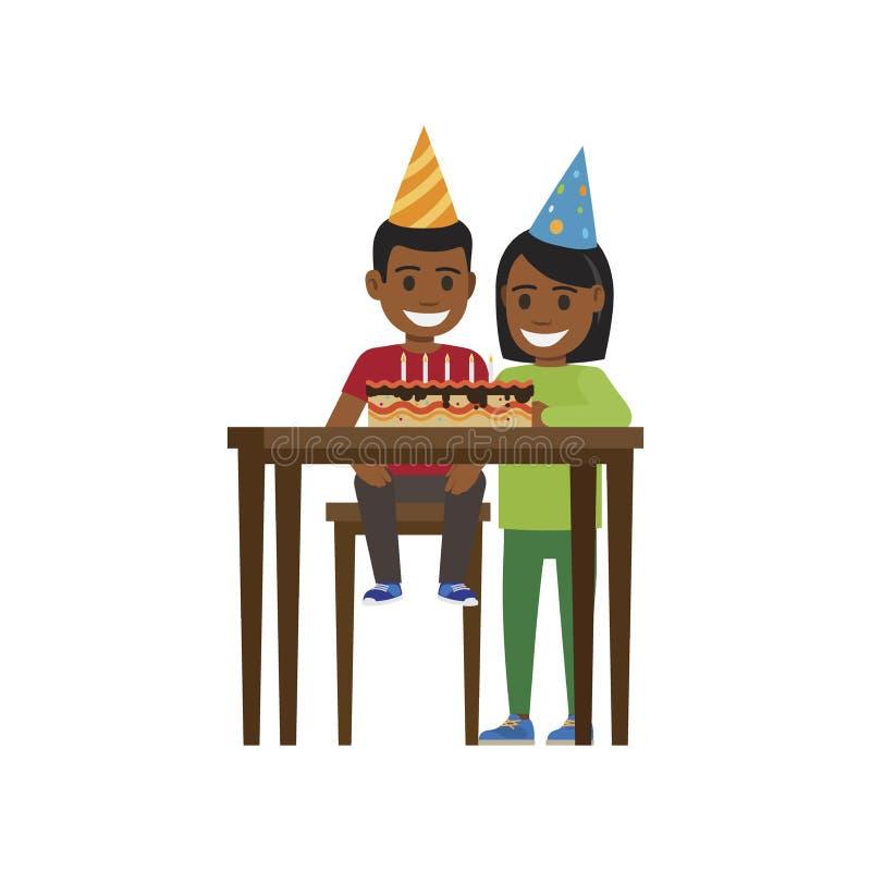 Muchacho y muchacha en la tabla con la torta del feliz cumpleaños stock de ilustración