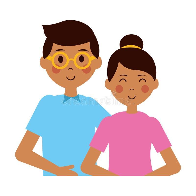 Muchacho y muchacha felices ilustración del vector