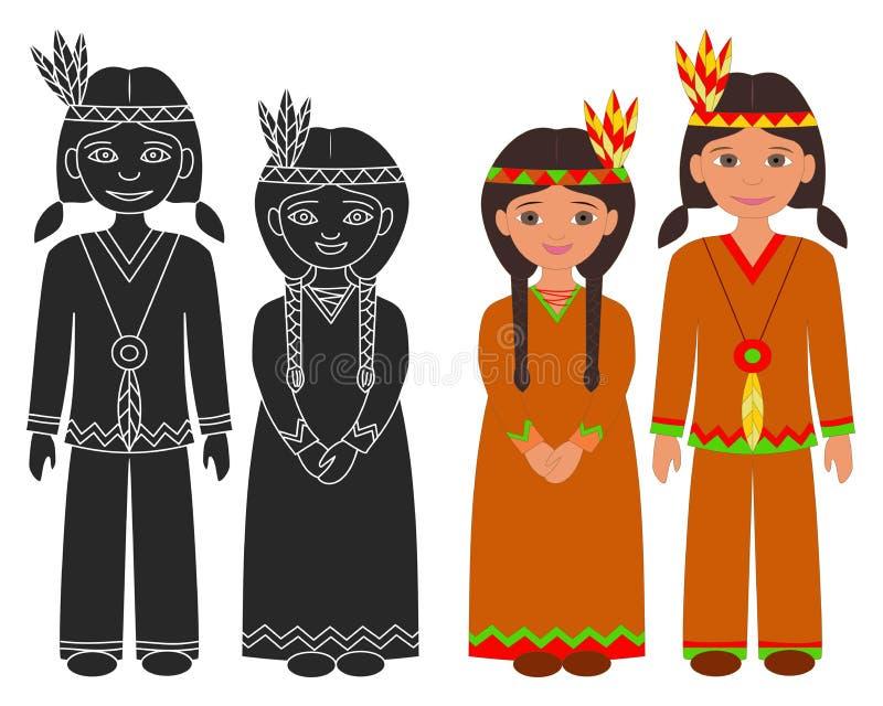 Muchacho y muchacha indios del nativo americano libre illustration