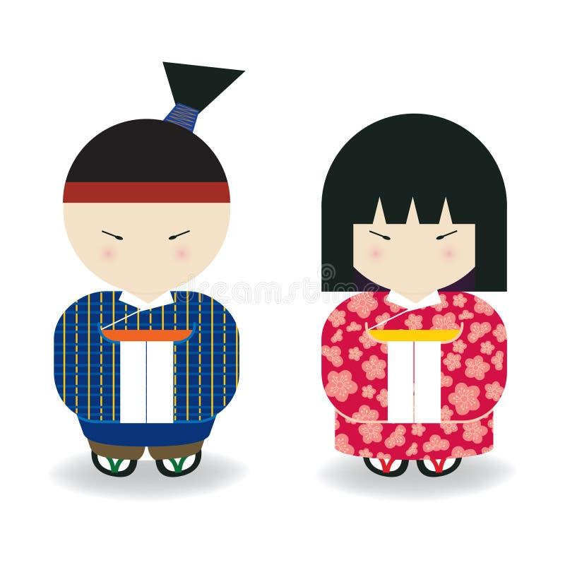 Muchacho y muchacha japoneses stock de ilustración