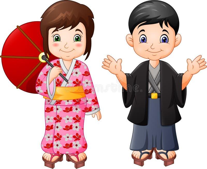 Muchacho y muchacha japoneses de la historieta en uniforme tradicional stock de ilustración