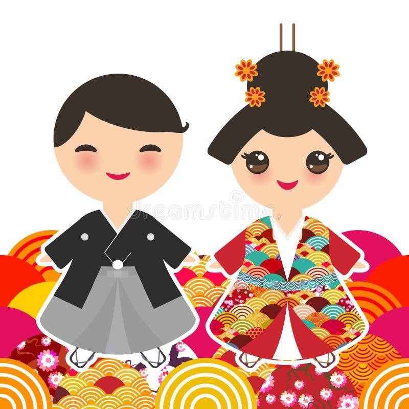 Muchacho y muchacha japoneses en traje nacional kimono, niños de la historieta en vestido tradicional Naranja del modelo del círc libre illustration