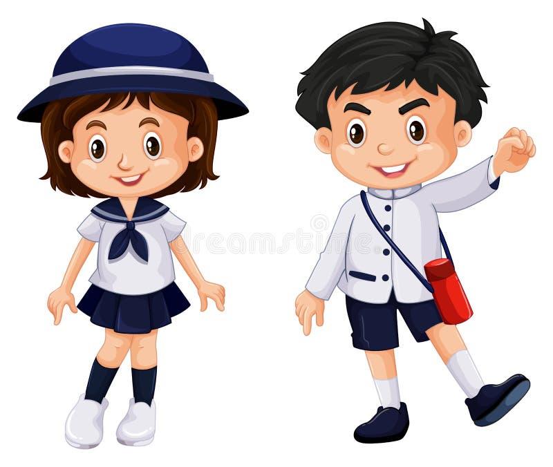 Muchacho y muchacha japoneses en uniforme escolar libre illustration