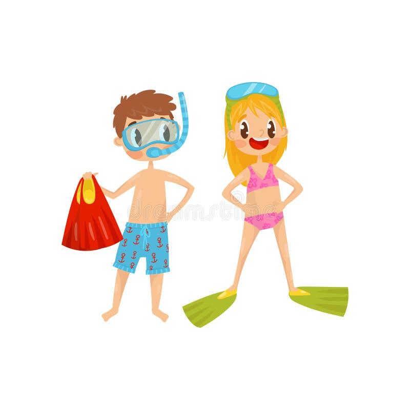 Muchacho y muchacha listos a bucear Niños con las gafas y las aletas del salto Actividad al aire libre del verano Reconstrucción  ilustración del vector