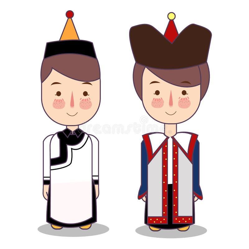 Muchacho y muchacha mongoles en traje y sombrero nacionales Niños de la historieta en vestido tradicional Ilustración del vector libre illustration