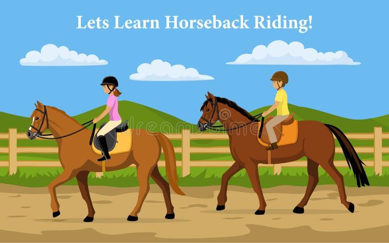 Muchacho y muchacha que aprenden equitación Fondo del campo libre illustration