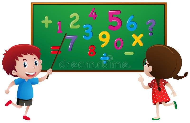 Muchacho y muchacha que cuentan números en el tablero ilustración del vector