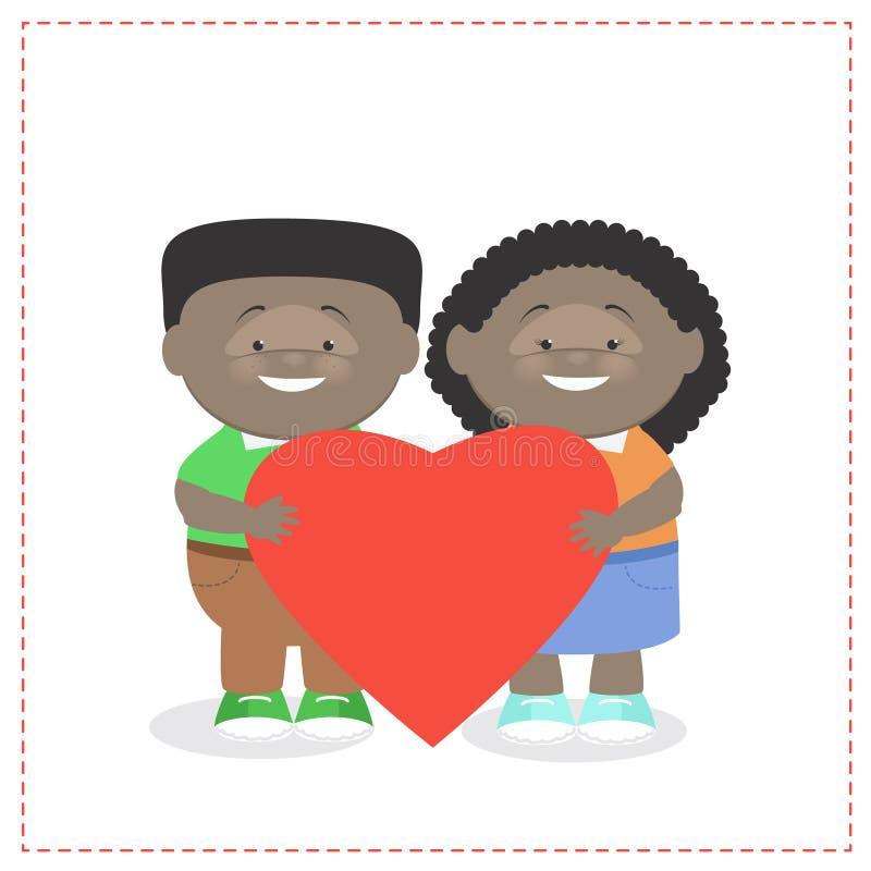 Muchacho y muchacha que detienen a niños de un corazón juntos afroamericanos ilustración del vector