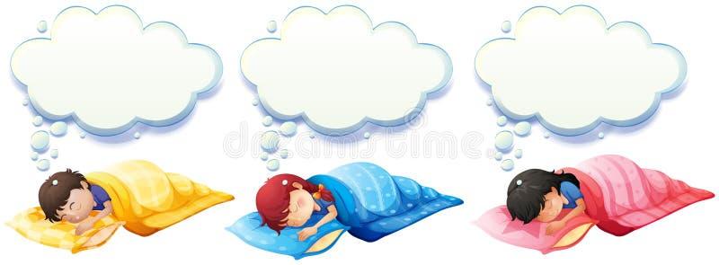 Muchacho y muchacha que duermen debajo de la manta libre illustration