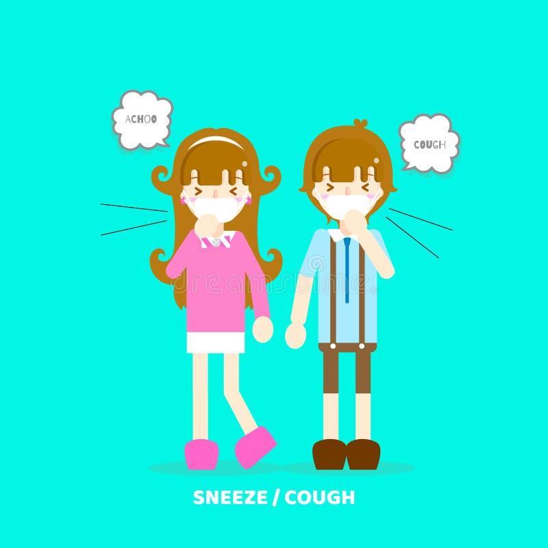 muchacho y muchacha que estornudan, tosiendo, teniendo alergia, concepto de la contaminación atmosférica ilustración del vector