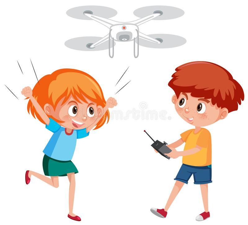 Muchacho y muchacha que juegan el abejón ilustración del vector