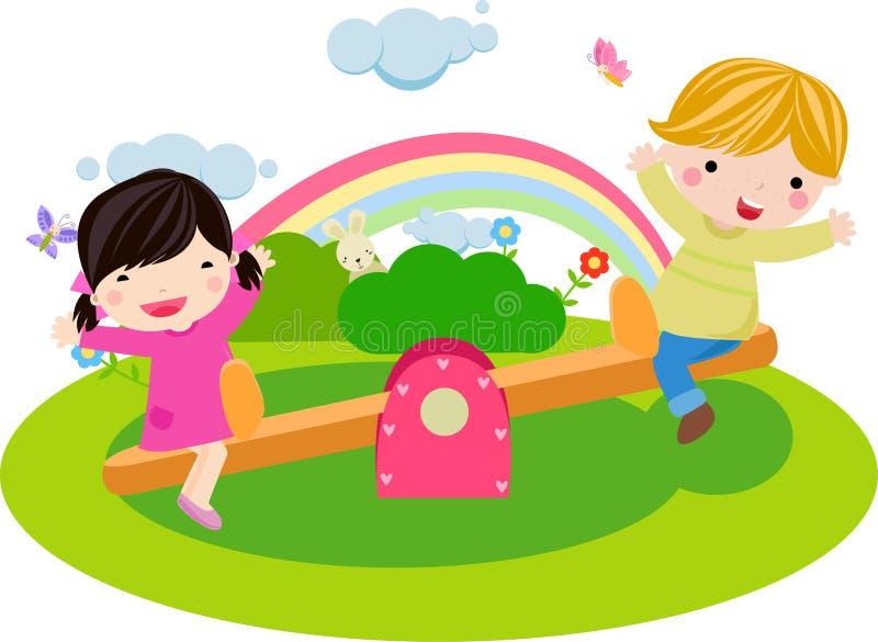 Muchacho y muchacha que juegan el balancín stock de ilustración