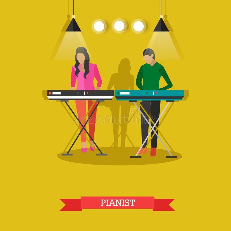Muchacho y muchacha que juegan el piano eléctrico, ejemplo del vector libre illustration