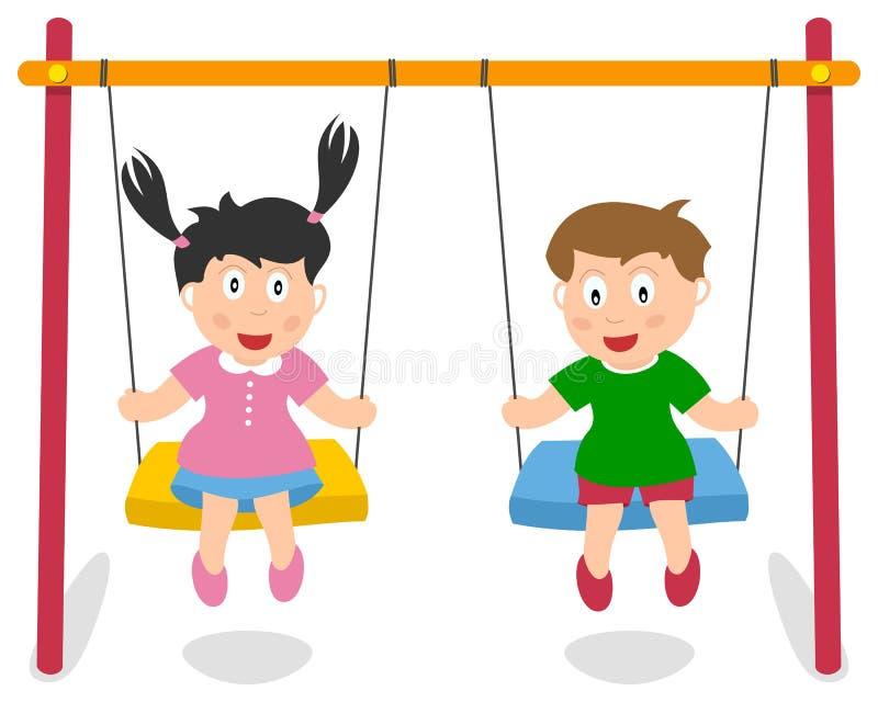 Muchacho y muchacha que juegan en el oscilación ilustración del vector
