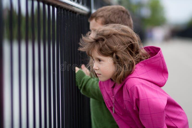 Muchacho y muchacha que miran a través de una cerca imagen de archivo libre de regalías