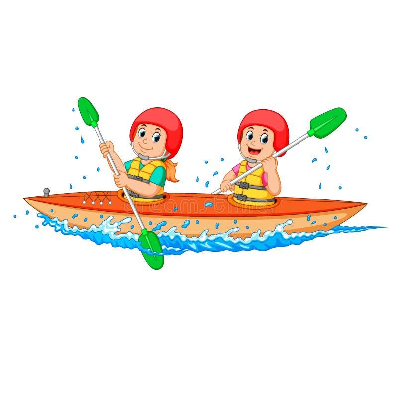 Muchacho y muchacha que se baten con la canoa libre illustration