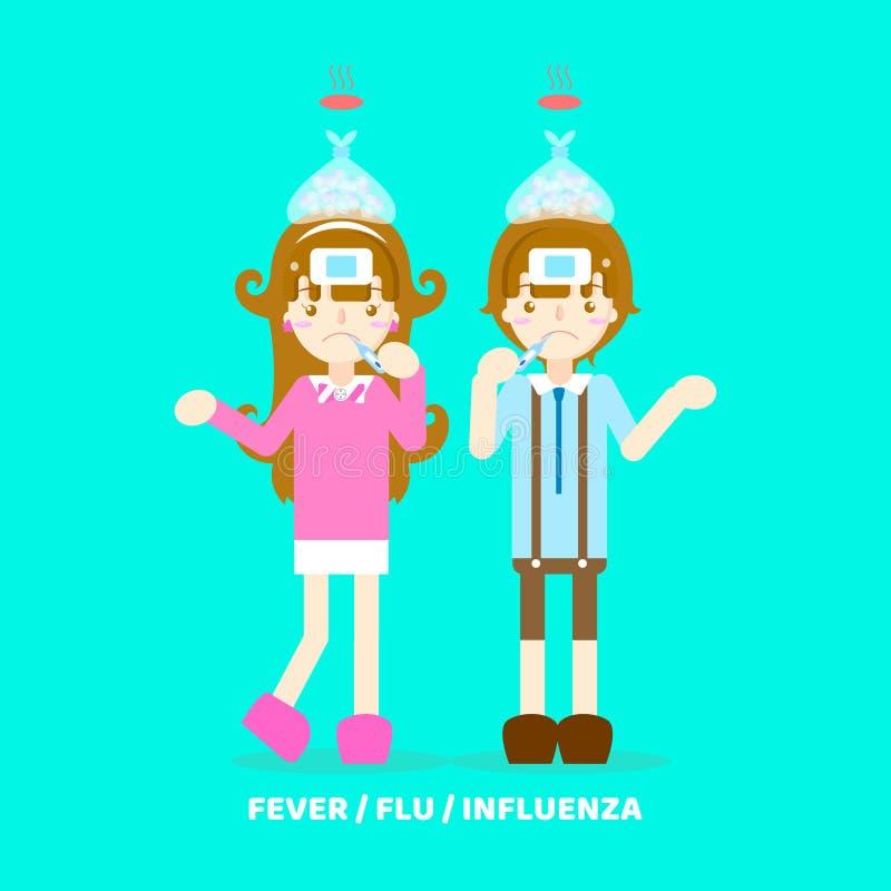 muchacho y muchacha que tienen fiebre, frío, gripe, gripe, tosiendo, estornudando, concepto de los síntomas de la atención sanita stock de ilustración