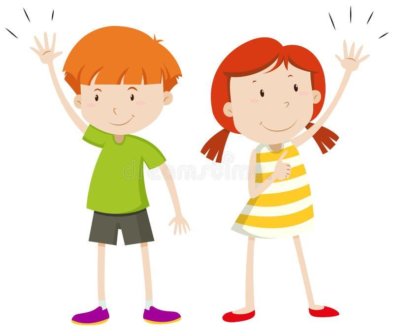 Muchacho y muchacha que tienen sus manos para arriba ilustración del vector
