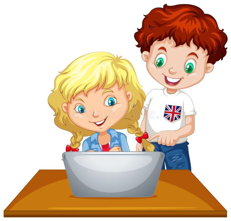 Muchacho y muchacha que usa el ordenador ilustración del vector