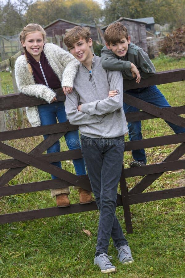Muchacho y niños y adolescente de la muchacha en jardín fotos de archivo libres de regalías