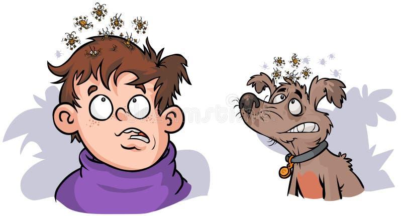 Imagenes De Piojos Animados: Muchacho Y Perro Con Los Piojos. Stock De Ilustración