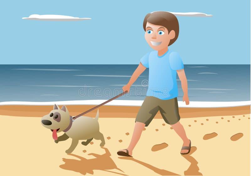 Muchacho y perro que caminan encendido stock de ilustración