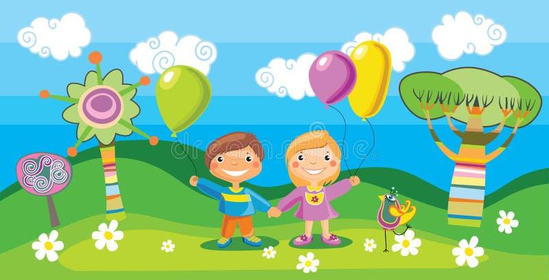 Muchacho y una muchacha con globos stock de ilustración