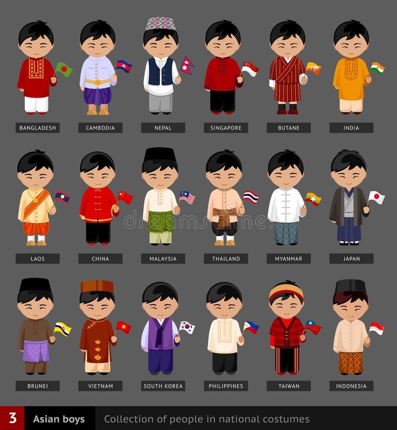 Muchachos asiáticos en vestido nacional stock de ilustración