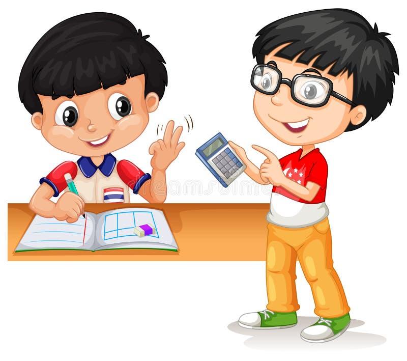 Muchachos asiáticos que calculan con la calculadora libre illustration