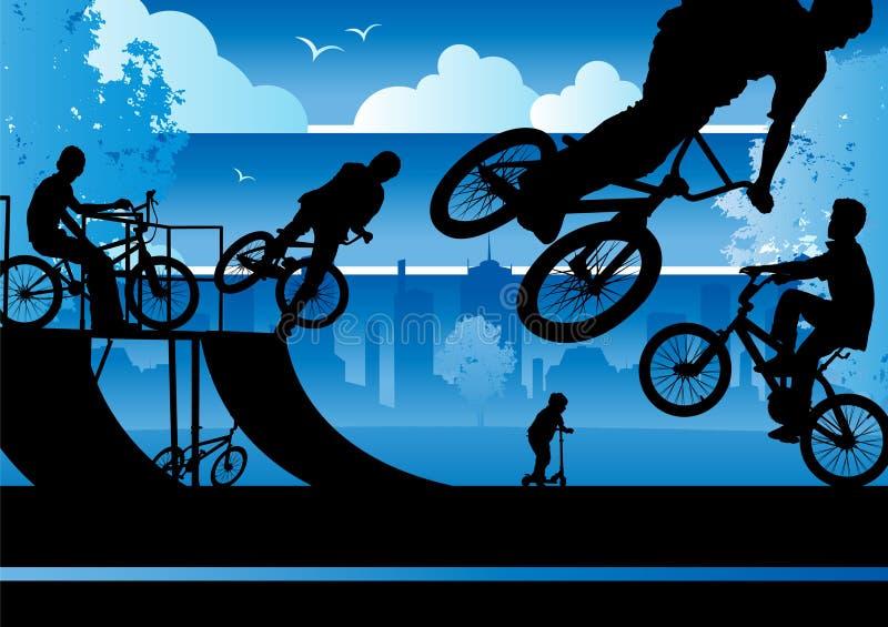 Muchachos de BMX en un parque de la ciudad libre illustration