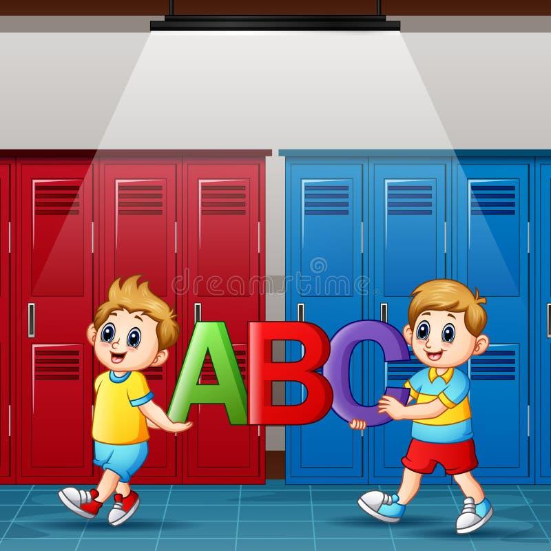 Muchachos de la historieta que llevan a cabo alfabetos en vestuario stock de ilustración