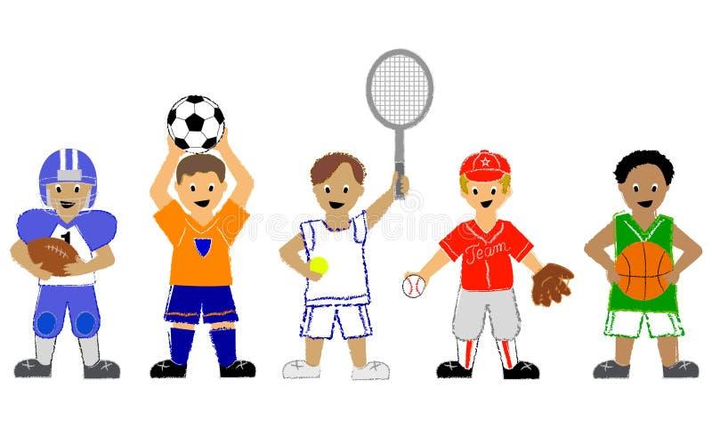 Muchachos de los deportes ilustración del vector