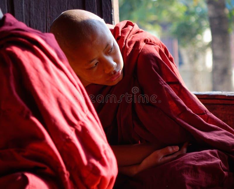 Muchachos del novato que estudian en el monasterio budista imagen de archivo
