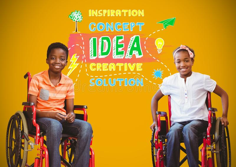 Muchachos discapacitados en sillas de ruedas con los gráficos coloridos del concepto de la idea fotografía de archivo