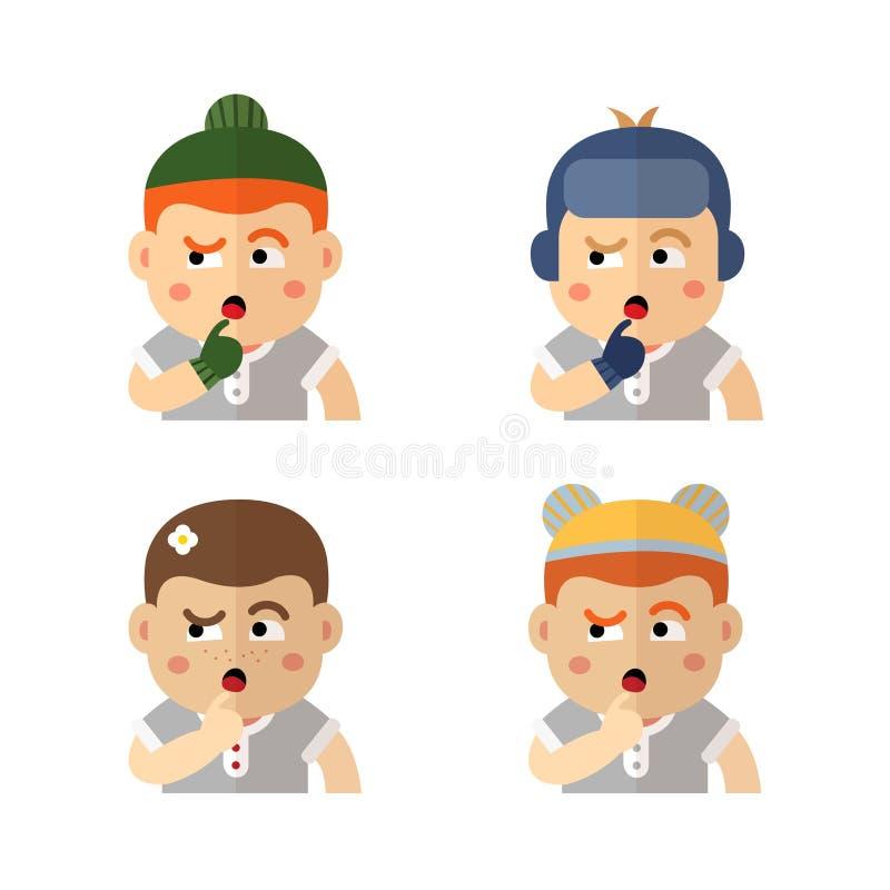Muchachos en una taza en los momentos diferentes del año: invierno, primavera, verano, otoño stock de ilustración