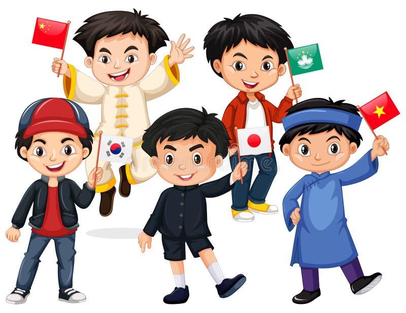 Muchachos felices que sostienen la bandera de los países diferentes ilustración del vector