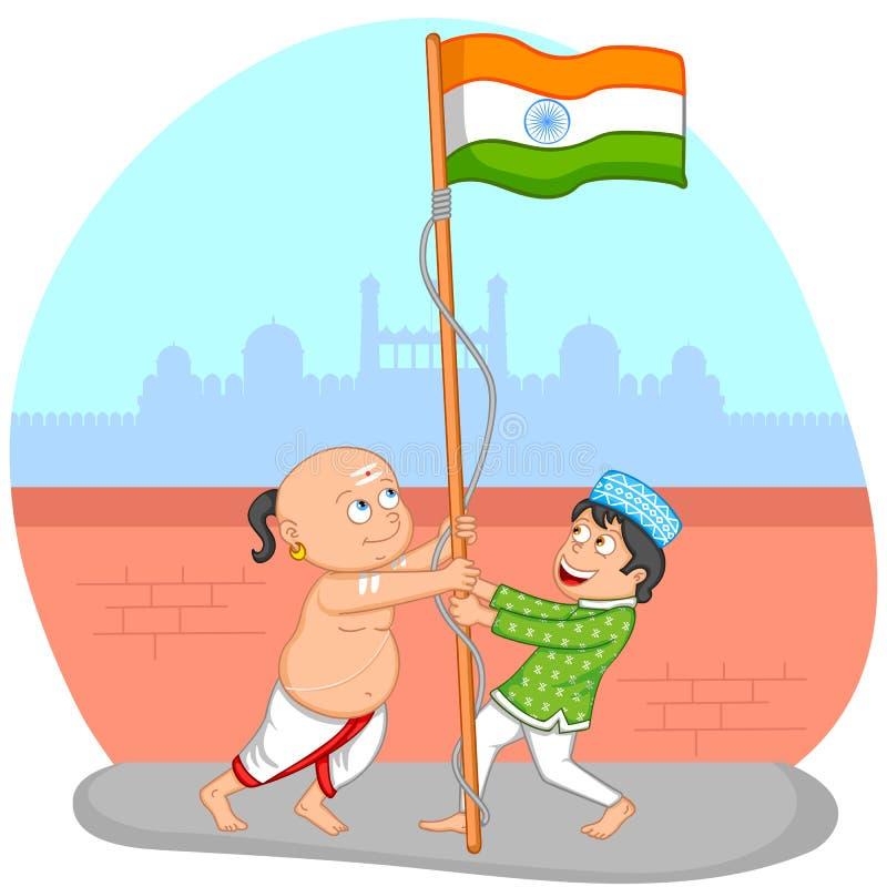 Muchachos indios que alzan la bandera de la India stock de ilustración