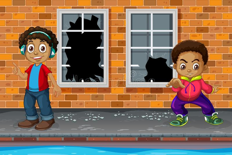 Muchachos jovenes en calle quebrada stock de ilustración