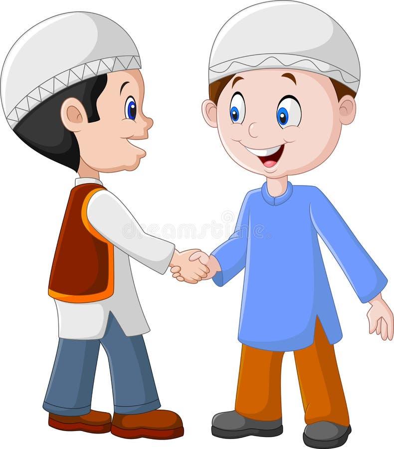 Muchachos musulmanes de la historieta que sacuden las manos stock de ilustración