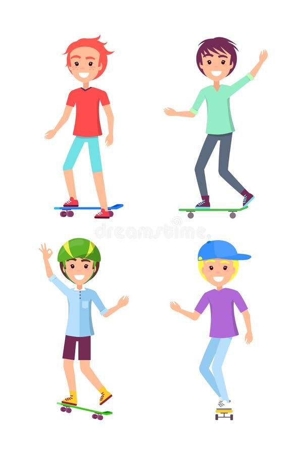 Muchachos patinadores fijados aislados en el fondo blanco stock de ilustración