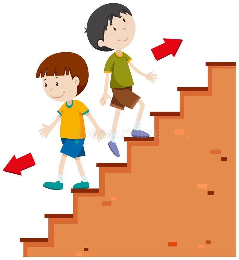Muchachos que caminan hacia arriba y hacia abajo stock de ilustración