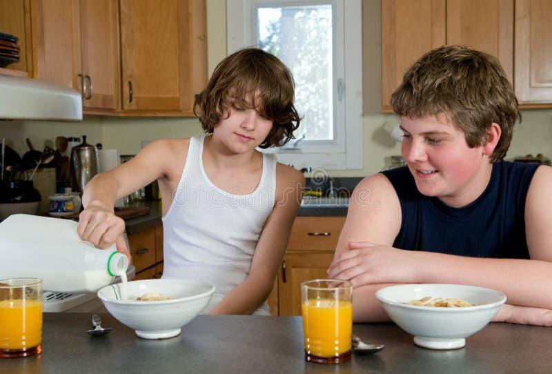 Muchachos que desayunan imagen de archivo