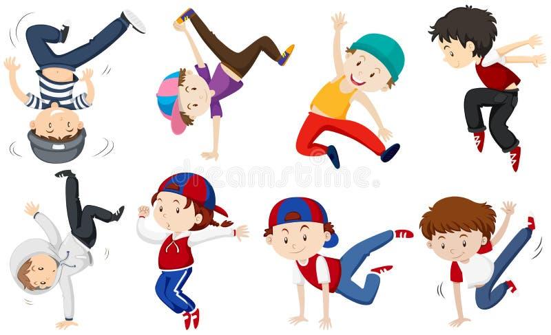 Muchachos que hacen diversas acciones del baile libre illustration
