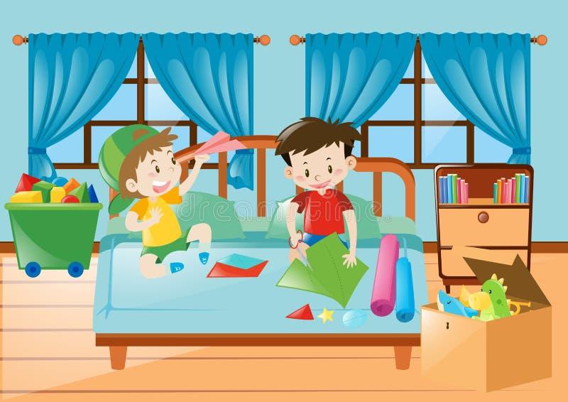 Muchachos que juegan en el dormitorio ilustración del vector