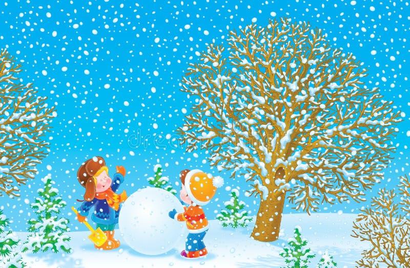 Muchachos que juegan en un parque del invierno stock de ilustración