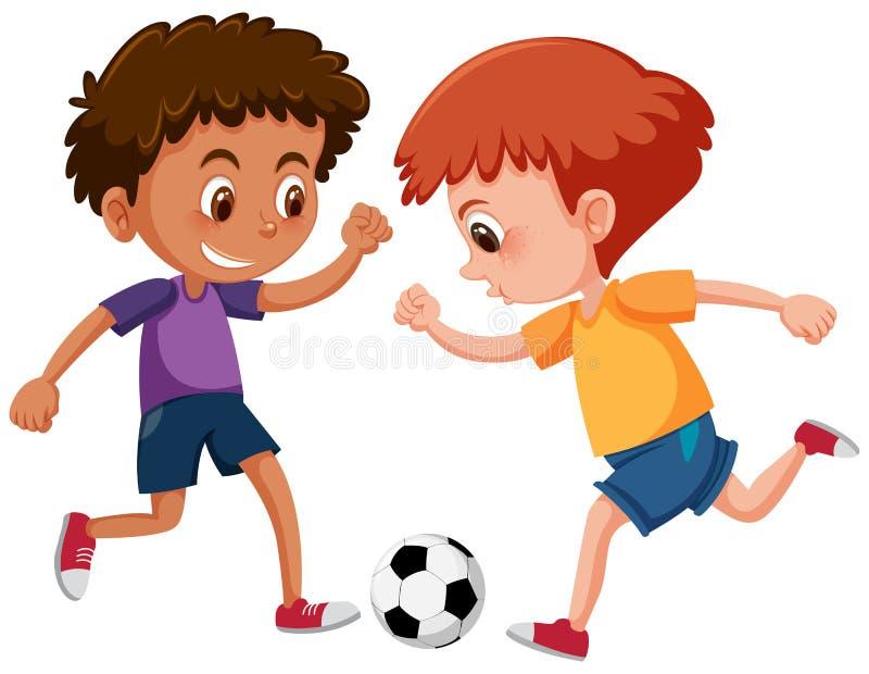 Muchachos que juegan a fútbol en el fondo blanco stock de ilustración